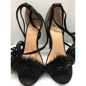 Chic Women's Black Faux Suede Feather Ankle Strap